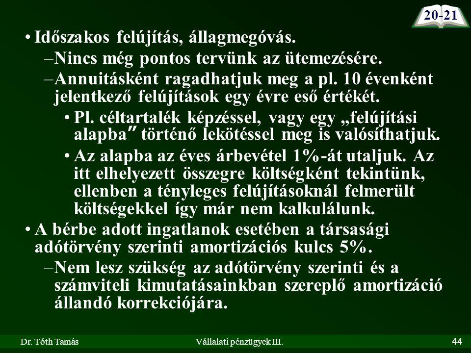 Dr. Tóth TamásVállalati pénzügyek III.44 Időszakos felújítás, állagmegóvás.