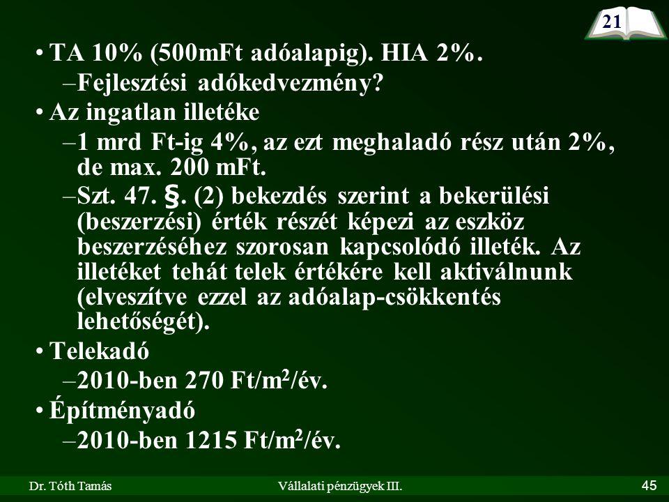 Dr. Tóth TamásVállalati pénzügyek III.45 TA 10% (500mFt adóalapig).