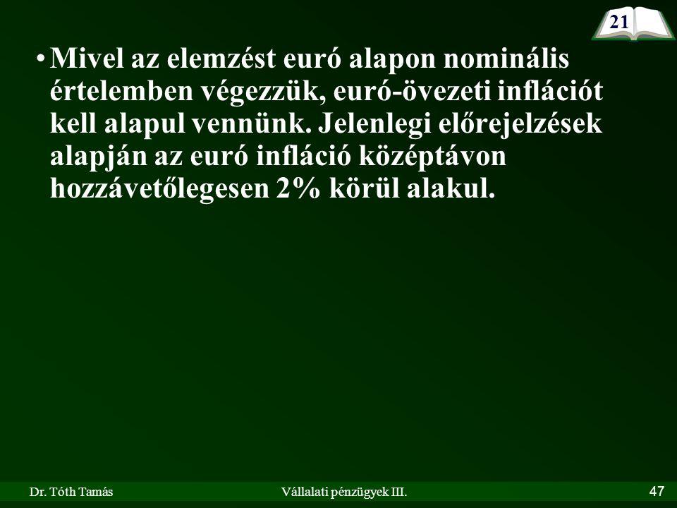 Dr. Tóth TamásVállalati pénzügyek III.47 Mivel az elemzést euró alapon nominális értelemben végezzük, euró-övezeti inflációt kell alapul vennünk. Jele
