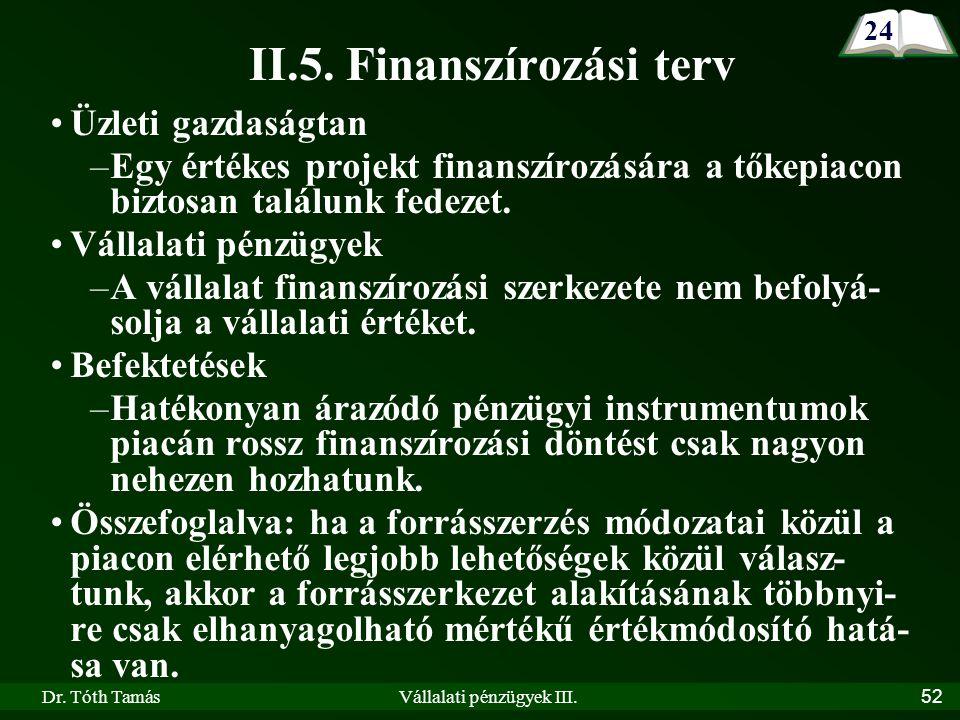 Dr. Tóth TamásVállalati pénzügyek III.52 II.5.
