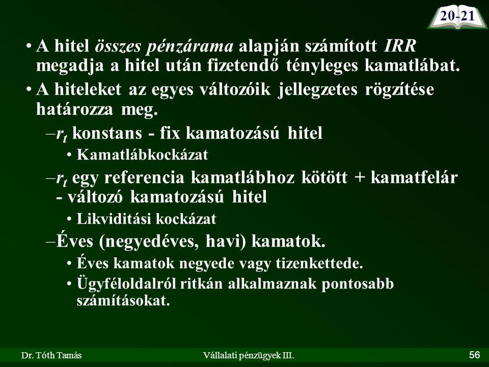 Dr. Tóth TamásVállalati pénzügyek III.56 A hitel összes pénzárama alapján számított IRR megadja a hitel után fizetendő tényleges kamatlábat. A hitelek