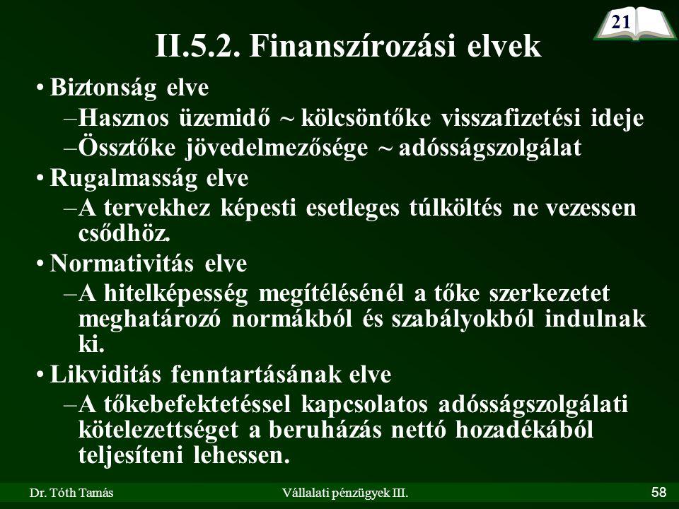 Dr. Tóth TamásVállalati pénzügyek III.58 II.5.2.