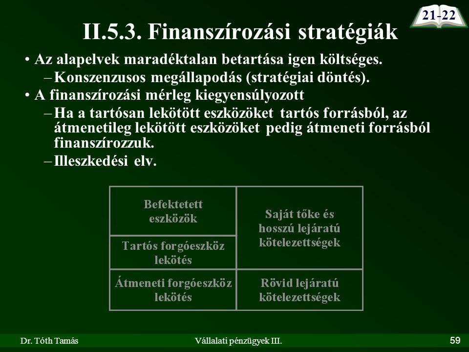Dr. Tóth TamásVállalati pénzügyek III.59 II.5.3.
