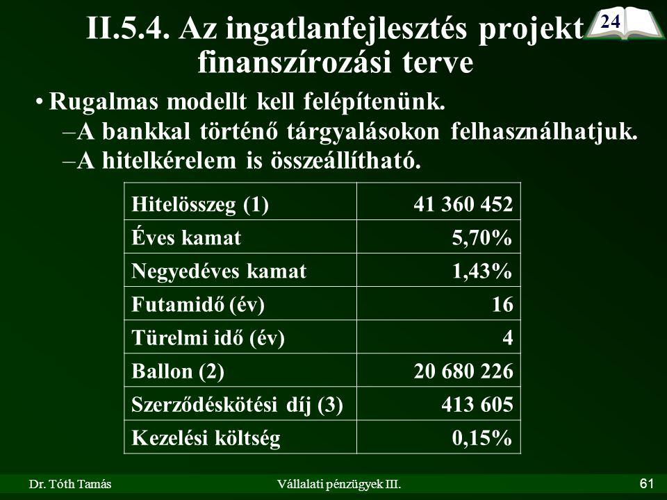 Dr. Tóth TamásVállalati pénzügyek III.61 II.5.4.