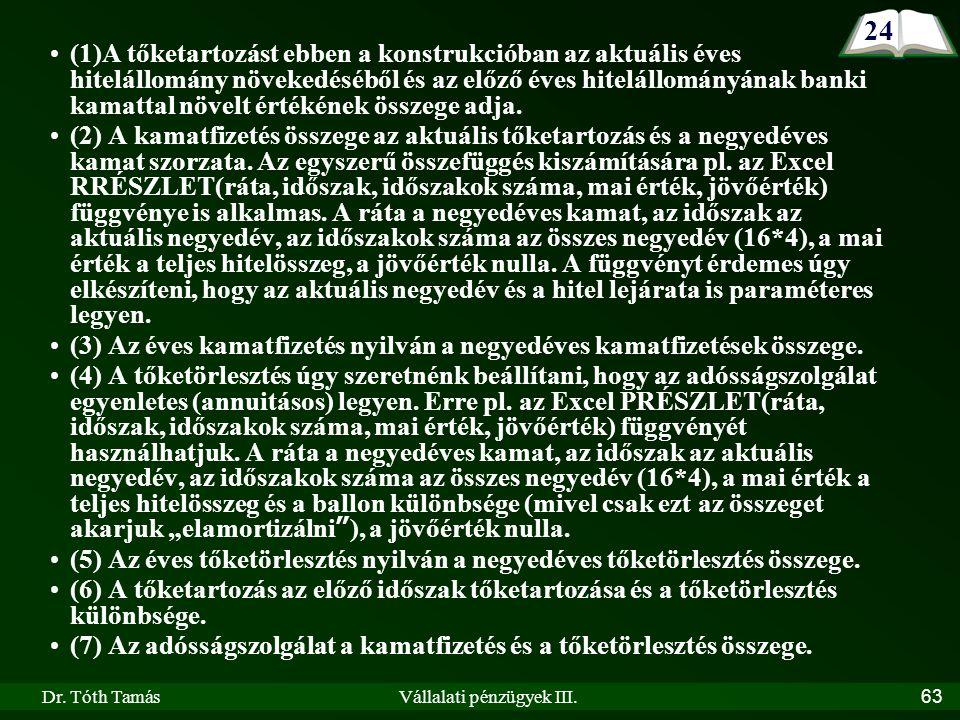 Dr. Tóth TamásVállalati pénzügyek III.63 (1)A tőketartozást ebben a konstrukcióban az aktuális éves hitelállomány növekedéséből és az előző éves hitel