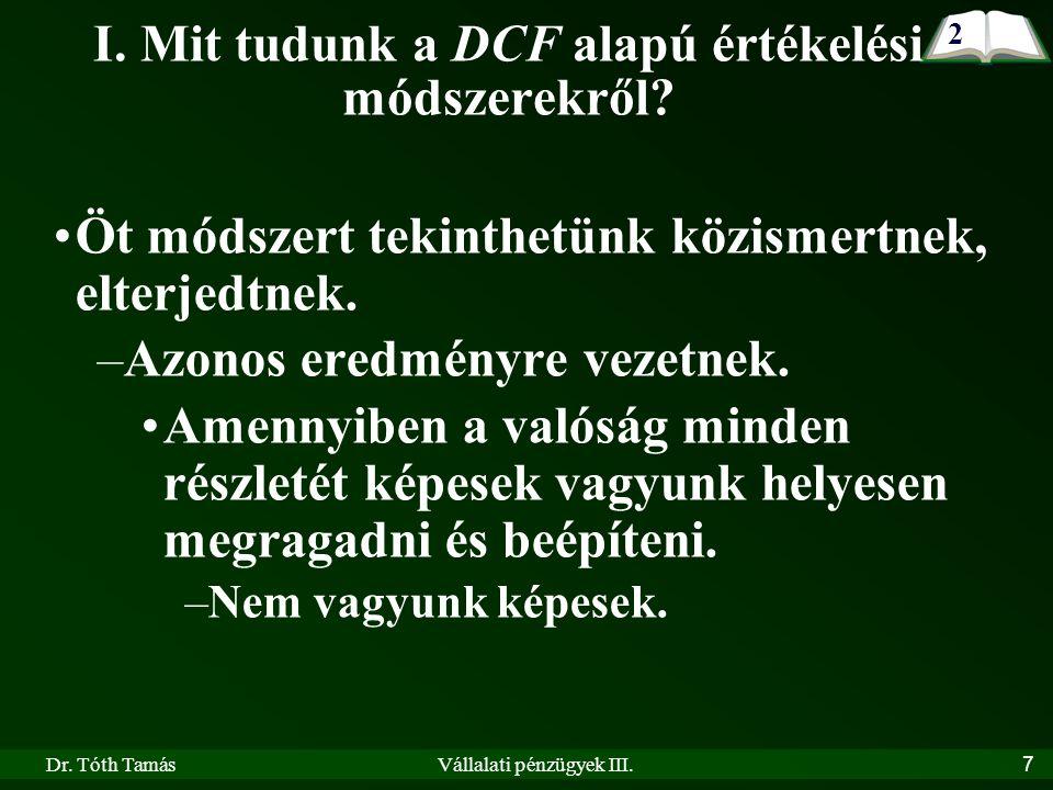 Dr. Tóth TamásVállalati pénzügyek III. 7 I. Mit tudunk a DCF alapú értékelési módszerekről.