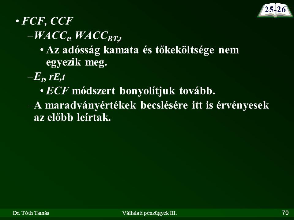 Dr. Tóth TamásVállalati pénzügyek III.70 FCF, CCF –WACC t, WACC BT,t Az adósság kamata és tőkeköltsége nem egyezik meg. –E t, r E,t ECF módszert bonyo