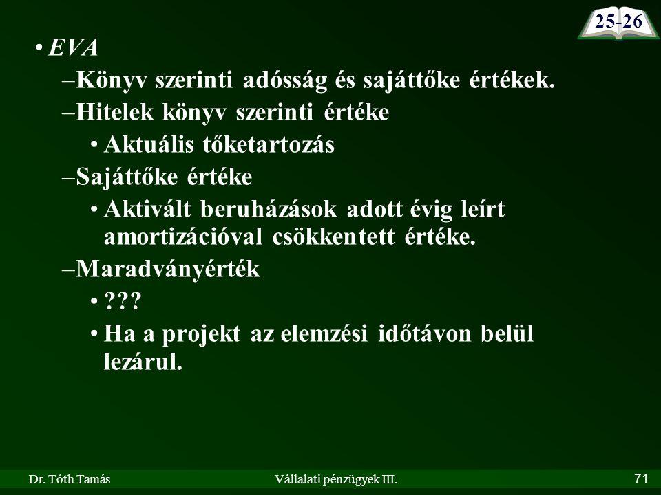 Dr. Tóth TamásVállalati pénzügyek III.71 EVA –Könyv szerinti adósság és sajáttőke értékek.