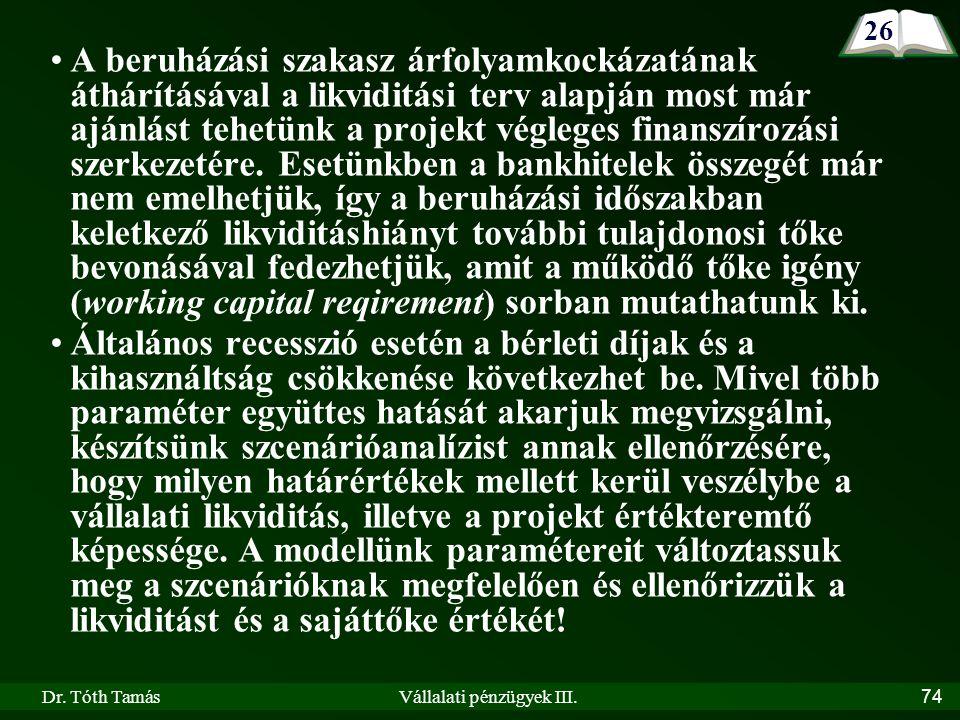 Dr. Tóth TamásVállalati pénzügyek III.74 A beruházási szakasz árfolyamkockázatának áthárításával a likviditási terv alapján most már ajánlást tehetünk