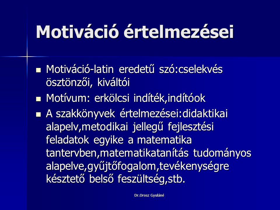 Dr.Orosz Gyuláné Motiválás területei.