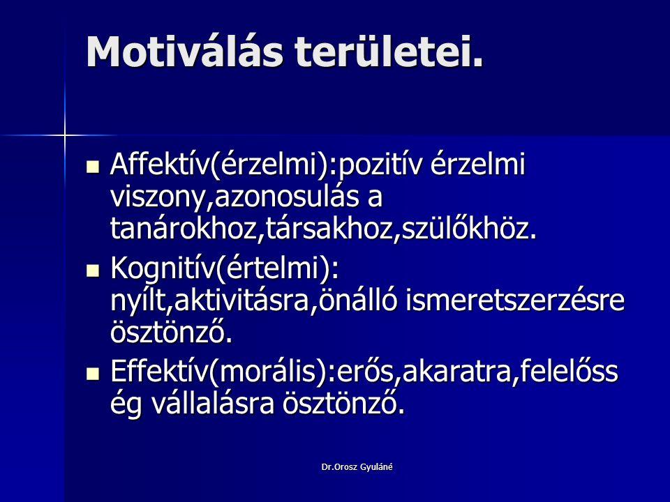 Dr.Orosz Gyuláné Motiválási lehetőségek a tanítási órákon Motiváló tanítási eljárás:igényes,tudatos tervezőmunka ösztönzi a tanulót.