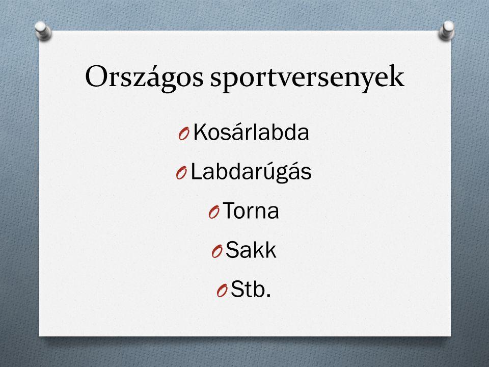 Országos sportversenyek O Kosárlabda O Labdarúgás O Torna O Sakk O Stb.