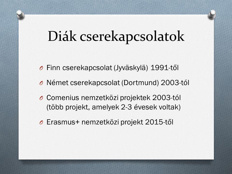 Diák cserekapcsolatok O Finn cserekapcsolat (Jyväskylä) 1991-től O Német cserekapcsolat (Dortmund) 2003-tól O Comenius nemzetközi projektek 2003-tól (több projekt, amelyek 2-3 évesek voltak) O Erasmus+ nemzetközi projekt 2015-től