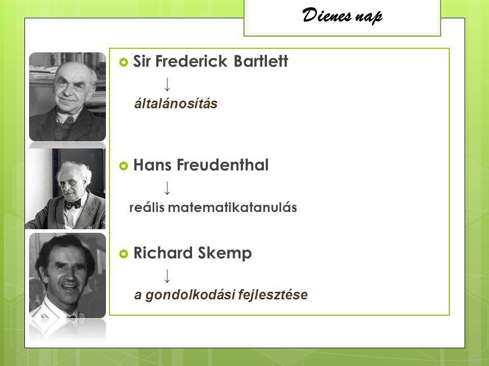  Sir Frederick Bartlett ↓ általánosítás  Hans Freudenthal ↓ reális matematikatanulás  Richard Skemp ↓ a gondolkodási fejlesztése Dienes nap