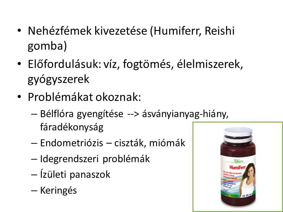 Nehézfémek kivezetése (Humiferr, Reishi gomba) Előfordulásuk: víz, fogtömés, élelmiszerek, gyógyszerek Problémákat okoznak: – Bélflóra gyengítése -->