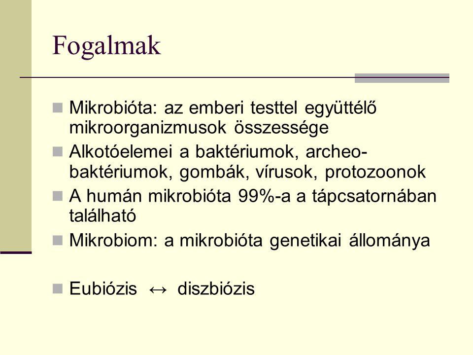 Fogalmak Mikrobióta: az emberi testtel együttélő mikroorganizmusok összessége Alkotóelemei a baktériumok, archeo- baktériumok, gombák, vírusok, protozoonok A humán mikrobióta 99%-a a tápcsatornában található Mikrobiom: a mikrobióta genetikai állománya Eubiózis ↔ diszbiózis