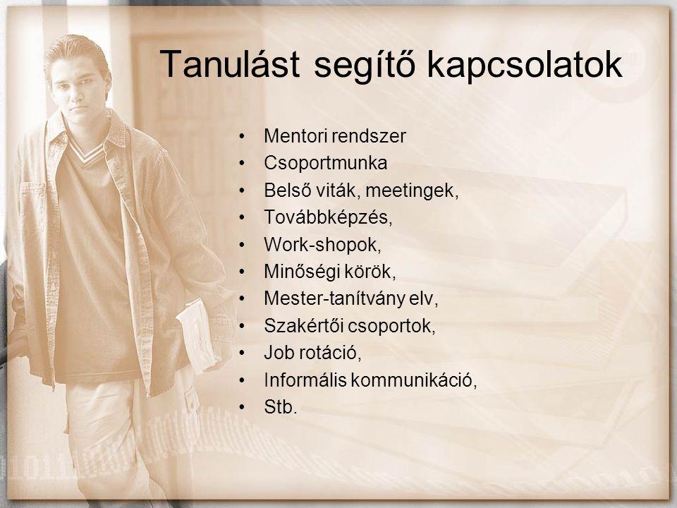 Tanulást segítő kapcsolatok Mentori rendszer Csoportmunka Belső viták, meetingek, Továbbképzés, Work-shopok, Minőségi körök, Mester-tanítvány elv, Sza