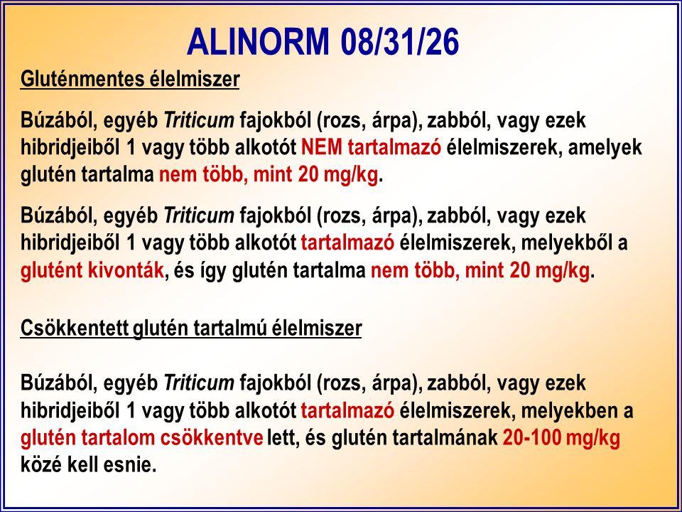 Gluténmentes élelmiszer Búzából, egyéb Triticum fajokból (rozs, árpa), zabból, vagy ezek hibridjeiből 1 vagy több alkotót NEM tartalmazó élelmiszerek, amelyek glutén tartalma nem több, mint 20 mg/kg.