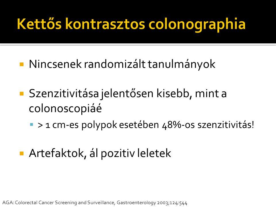  Nincsenek randomizált tanulmányok  Szenzitivitása jelentősen kisebb, mint a colonoscopiáé  > 1 cm-es polypok esetében 48%-os szenzitivitás!  Arte