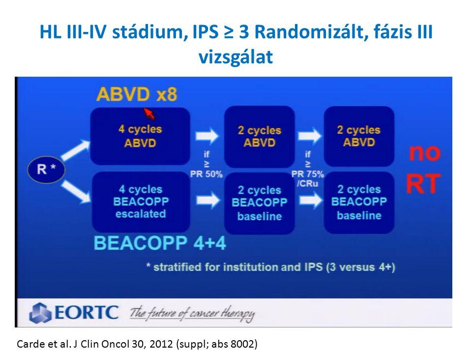HL III-IV stádium, IPS ≥ 3 Randomizált, fázis III vizsgálat Carde et al.