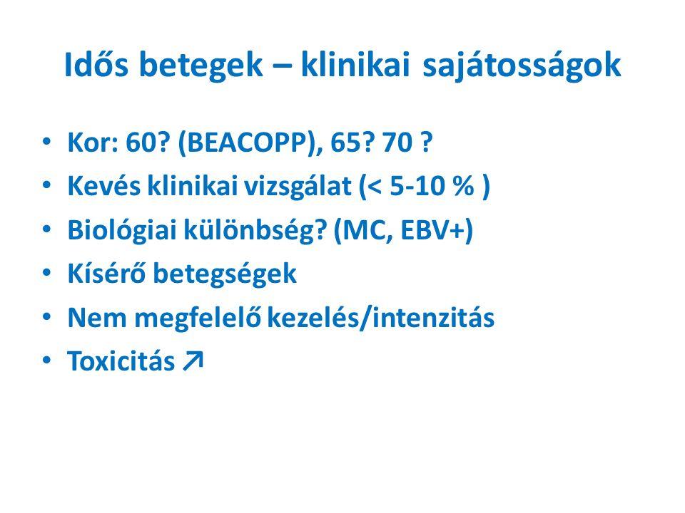 Idős betegek – klinikai sajátosságok Kor: 60. (BEACOPP), 65.