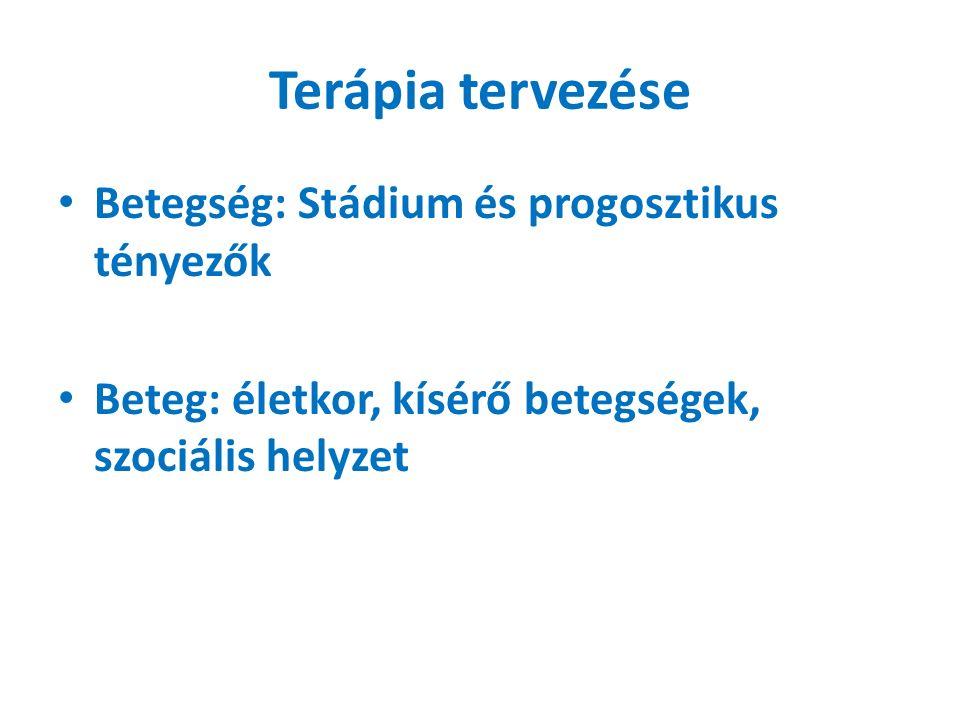Terápia tervezése Betegség: Stádium és progosztikus tényezők Beteg: életkor, kísérő betegségek, szociális helyzet