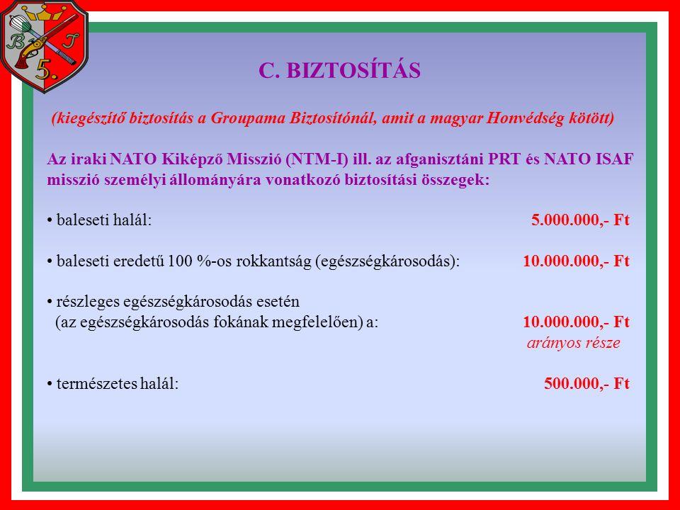 C. BIZTOSÍTÁS (kiegészítő biztosítás a Groupama Biztosítónál, amit a magyar Honvédség kötött) Az iraki NATO Kiképző Misszió (NTM-I) ill. az afganisztá