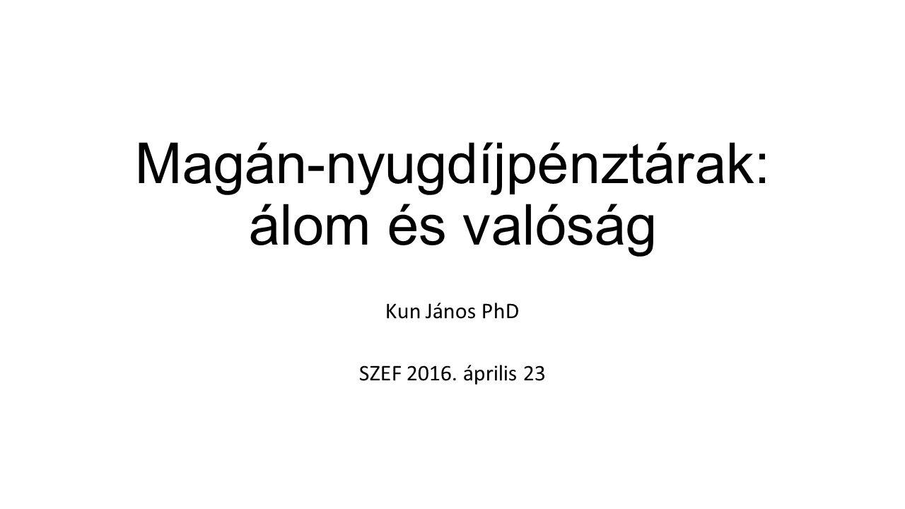 Magán-nyugdíjpénztárak: álom és valóság Kun János PhD SZEF 2016. április 23
