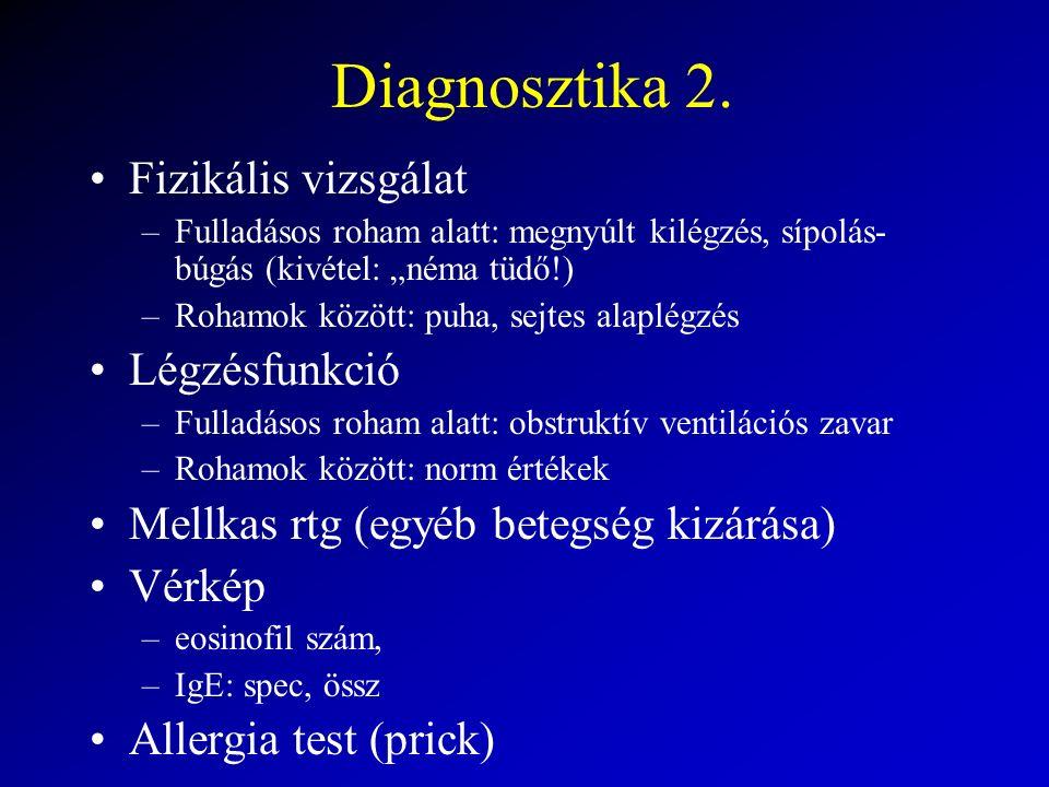"""Diagnosztika 2. Fizikális vizsgálat –Fulladásos roham alatt: megnyúlt kilégzés, sípolás- búgás (kivétel: """"néma tüdő!) –Rohamok között: puha, sejtes al"""