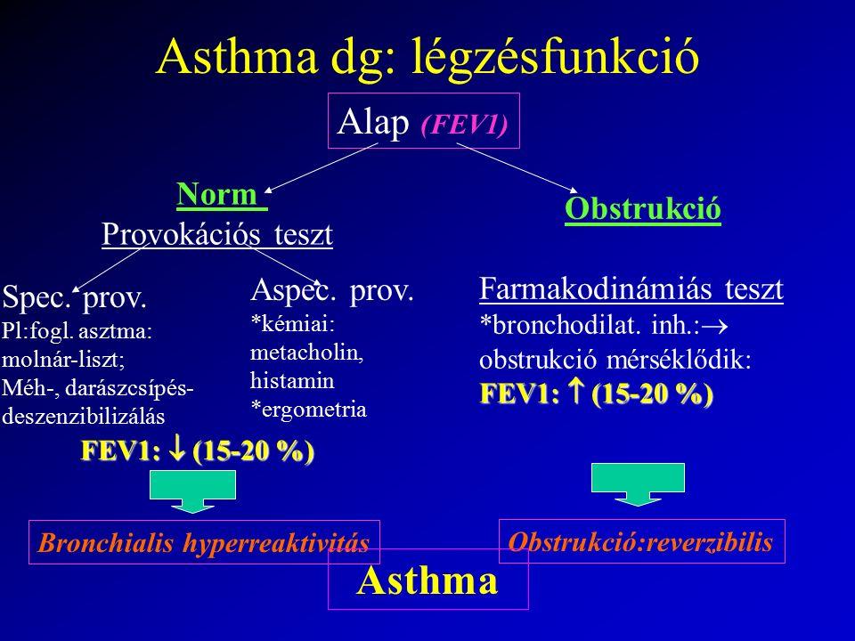 Asthma dg: légzésfunkció Alap (FEV1) Norm Provokációs teszt Obstrukció Farmakodinámiás teszt *bronchodilat. inh.:  obstrukció mérséklődik: FEV1:  (1