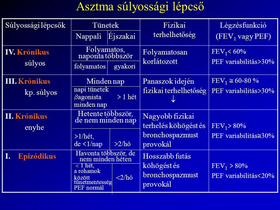 Asztma súlyossági lépcső Súlyossági lépcsőkTünetek Nappali Éjszakai Fizikai terhelhetőség Légzésfunkció (FEV 1 vagy PEF) IV. Krónikus súlyos Folyamato