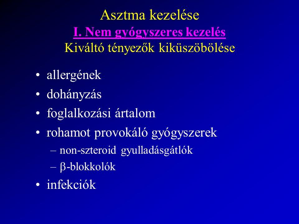 Asztma kezelése I. Nem gyógyszeres kezelés Kiváltó tényezők kiküszöbölése allergének dohányzás foglalkozási ártalom rohamot provokáló gyógyszerek –non