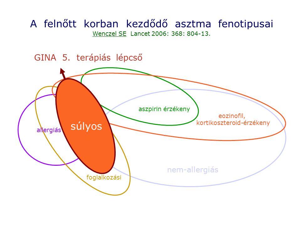 A felnőtt korban kezdődő asztma fenotipusai Wenczel SE Lancet 2006: 368: 804-13. nem-allergiás eozinofil, kortikoszteroid-érzékeny aszpirin érzékeny s