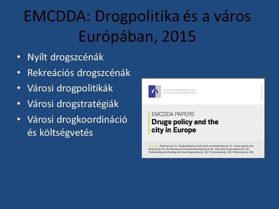 EMCDDA: Drogpolitika és a város Európában, 2015 Nyílt drogszcénák Rekreációs drogszcénák Városi drogpolitikák Városi drogstratégiák Városi drogkoordináció és költségvetés