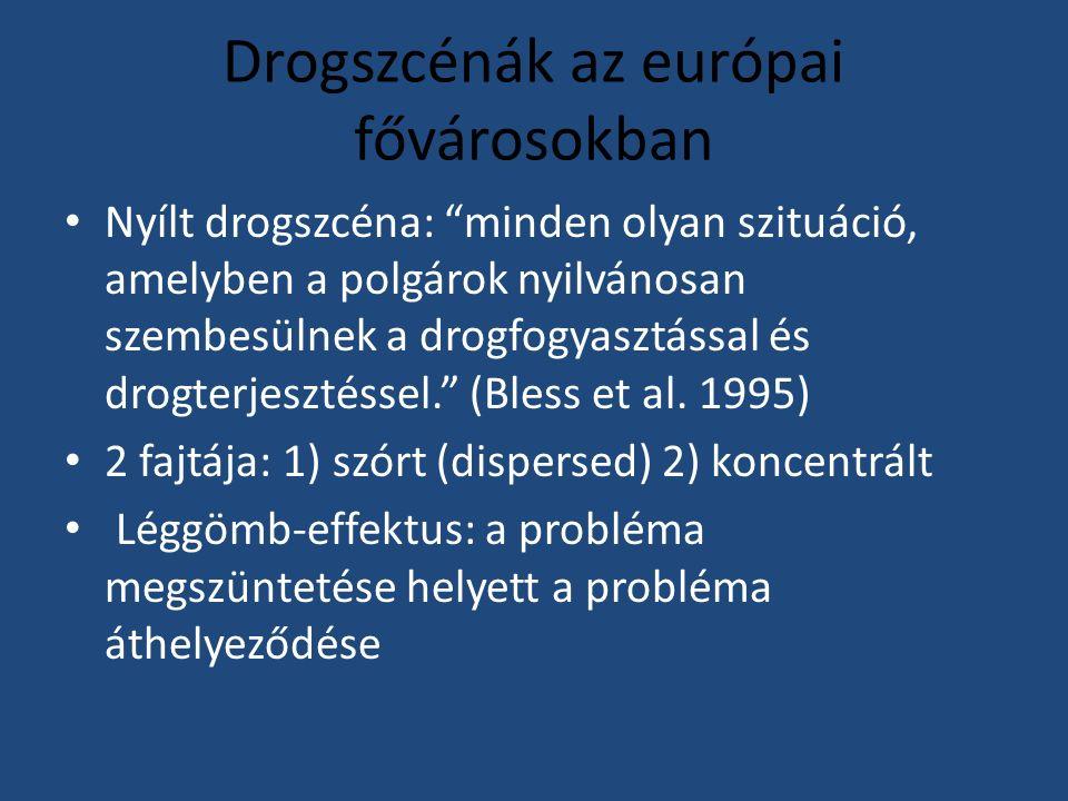 Drogszcénák az európai fővárosokban Nyílt drogszcéna: minden olyan szituáció, amelyben a polgárok nyilvánosan szembesülnek a drogfogyasztással és drogterjesztéssel. (Bless et al.