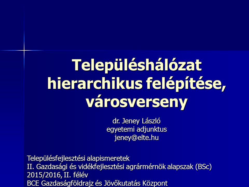 12 Walter Christaller hatszöges rendszere 1933, Dél-Németország Települések telefonellátottsága 10 hierarchiaszint – 10 hatszög Magyarország városhálózata a Christaller- féle modell szerint A települések hatszögek rendszerére alapuló hierarchikus rendszer A települések hatszögek rendszerére alapuló hierarchikus rendszer
