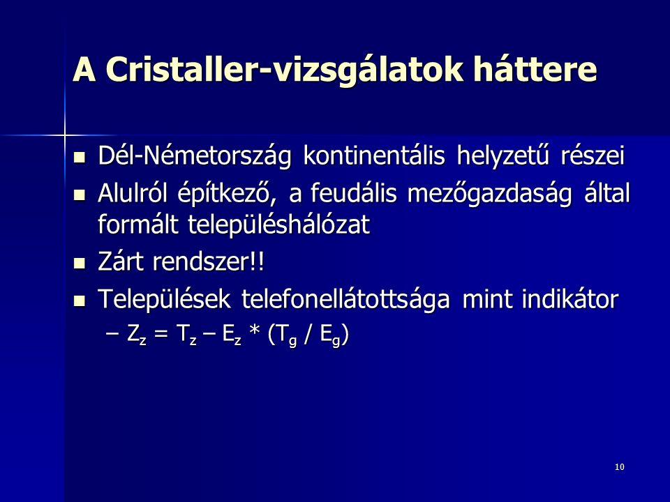 10 A Cristaller-vizsgálatok háttere Dél-Németország kontinentális helyzetű részei Dél-Németország kontinentális helyzetű részei Alulról építkező, a feudális mezőgazdaság által formált településhálózat Alulról építkező, a feudális mezőgazdaság által formált településhálózat Zárt rendszer!.
