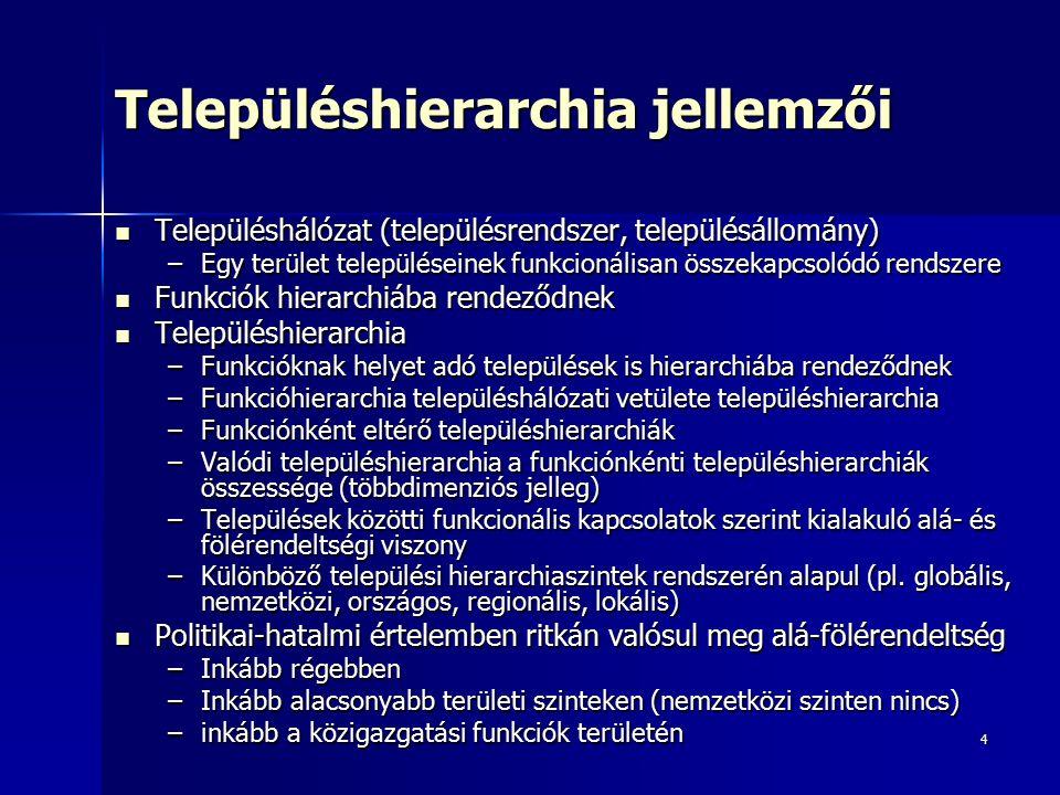 4 Településhierarchia jellemzői Településhálózat (településrendszer, településállomány) Településhálózat (településrendszer, településállomány) –Egy terület településeinek funkcionálisan összekapcsolódó rendszere Funkciók hierarchiába rendeződnek Funkciók hierarchiába rendeződnek Településhierarchia Településhierarchia –Funkcióknak helyet adó települések is hierarchiába rendeződnek –Funkcióhierarchia településhálózati vetülete településhierarchia –Funkciónként eltérő településhierarchiák –Valódi településhierarchia a funkciónkénti településhierarchiák összessége (többdimenziós jelleg) –Települések közötti funkcionális kapcsolatok szerint kialakuló alá- és fölérendeltségi viszony –Különböző települési hierarchiaszintek rendszerén alapul (pl.