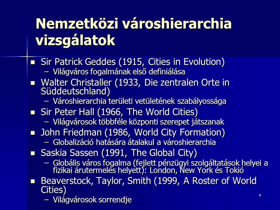 9 Nemzetközi városhierarchia vizsgálatok Sir Patrick Geddes (1915, Cities in Evolution) Sir Patrick Geddes (1915, Cities in Evolution) –Világváros fogalmának első definiálása Walter Christaller (1933, Die zentralen Orte in Süddeutschland) Walter Christaller (1933, Die zentralen Orte in Süddeutschland) –Városhierarchia területi vetületének szabályossága Sir Peter Hall (1966, The World Cities) Sir Peter Hall (1966, The World Cities) –Világvárosok többféle központi szerepet játszanak John Friedman (1986, World City Formation) John Friedman (1986, World City Formation) –Globalizáció hatására átalakul a városhierarchia Saskia Sassen (1991, The Global City) Saskia Sassen (1991, The Global City) –Globális város fogalma (fejlett pénzügyi szolgáltatások helyei a fizikai árutermelés helyett): London, New York és Tokió Beaverstock, Taylor, Smith (1999, A Roster of World Cities) Beaverstock, Taylor, Smith (1999, A Roster of World Cities) –Világvárosok sorrendje