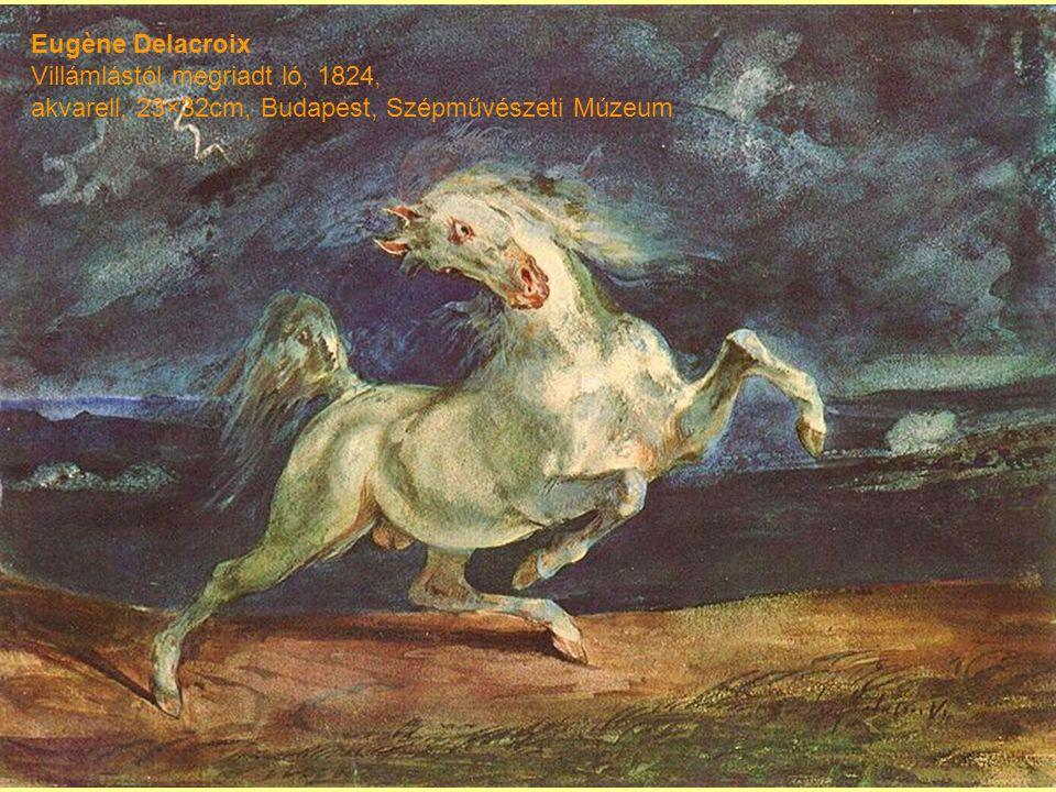 Eugène Delacroix Villámlástól megriadt ló, 1824, akvarell, 23×32cm, Budapest, Szépművészeti Múzeum