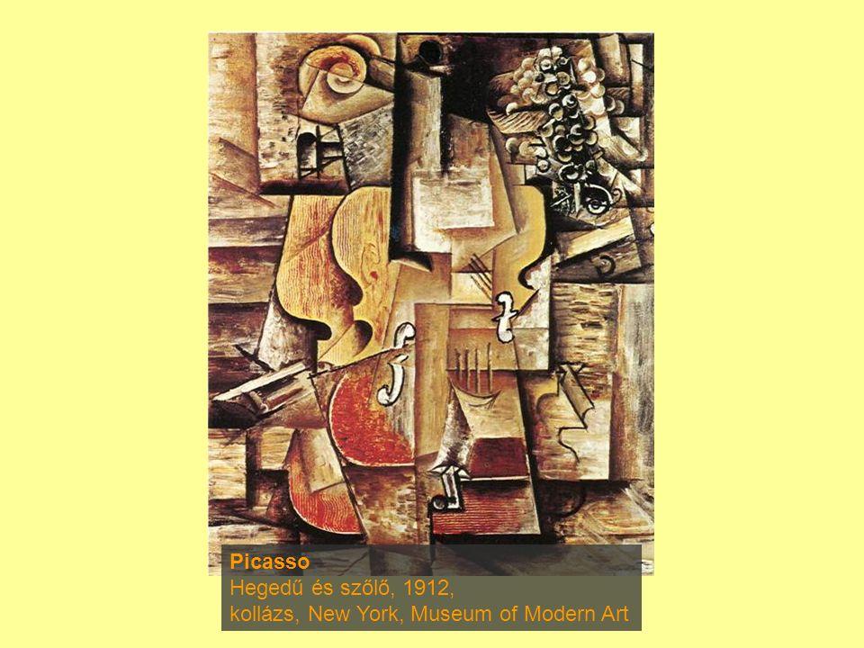 Picasso Hegedű és szőlő, 1912, kollázs, New York, Museum of Modern Art