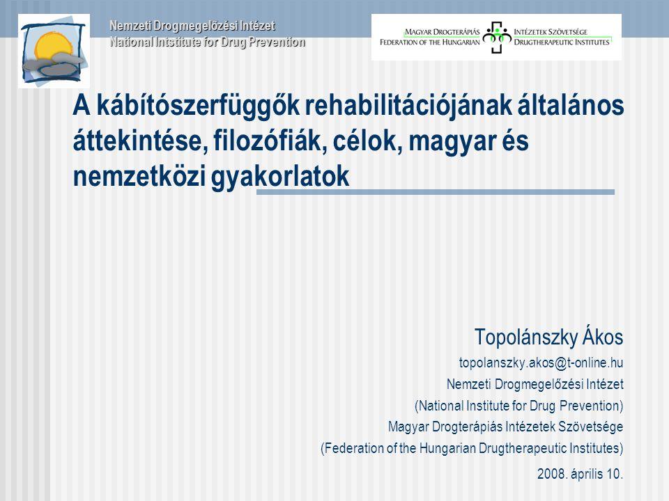 Topolánszky Ákos topolanszky.akos@t-online.hu Nemzeti Drogmegelőzési Intézet (National Institute for Drug Prevention) Magyar Drogterápiás Intézetek Szövetsége (Federation of the Hungarian Drugtherapeutic Institutes) 2008.