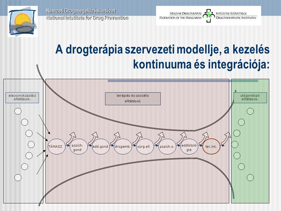 A drogterápia szervezeti modellje, a kezelés kontinuuma és integrációja: alacsonyküszöbű elltátások.