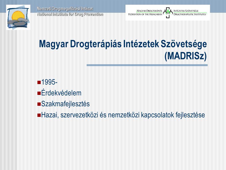 Magyar Drogterápiás Intézetek Szövetsége (MADRISz) 1995- Érdekvédelem Szakmafejlesztés Hazai, szervezetközi és nemzetközi kapcsolatok fejlesztése Nemzeti Drogmegelőzési Intézet National Intstitute for Drug Prevention