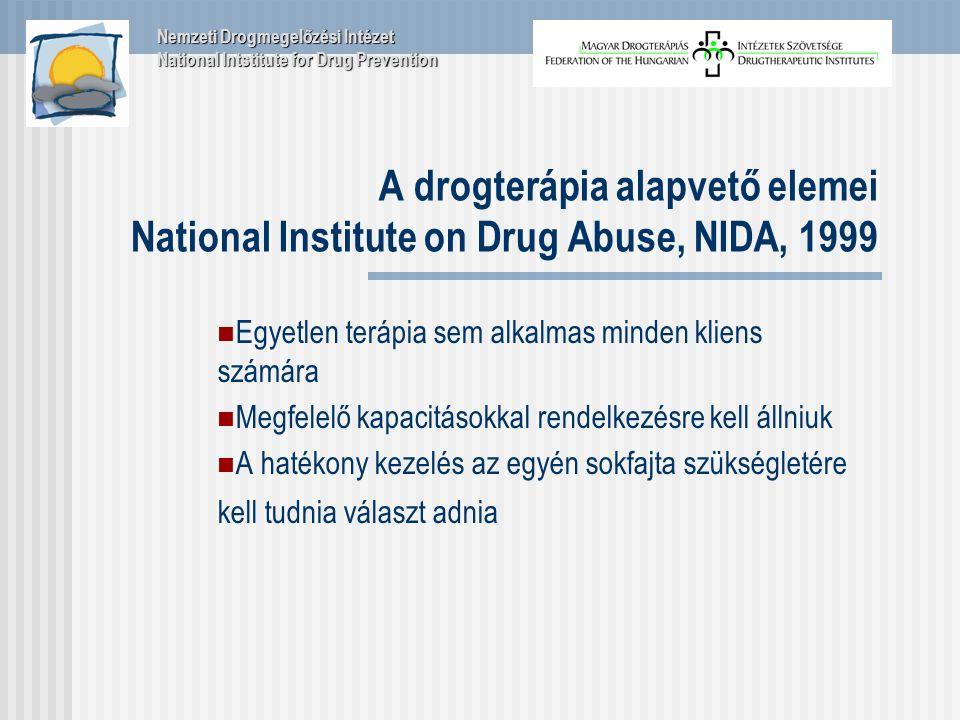 A drogterápia alapvető elemei National Institute on Drug Abuse, NIDA, 1999 Egyetlen terápia sem alkalmas minden kliens számára Megfelelő kapacitásokkal rendelkezésre kell állniuk A hatékony kezelés az egyén sokfajta szükségletére kell tudnia választ adnia Nemzeti Drogmegelőzési Intézet National Intstitute for Drug Prevention