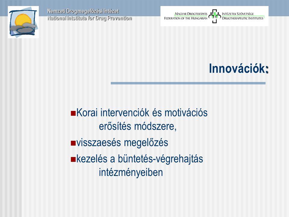 : Innovációk: Korai intervenciók és motivációs erősítés módszere, visszaesés megelőzés kezelés a büntetés-végrehajtás intézményeiben Nemzeti Drogmegelőzési Intézet National Intstitute for Drug Prevention