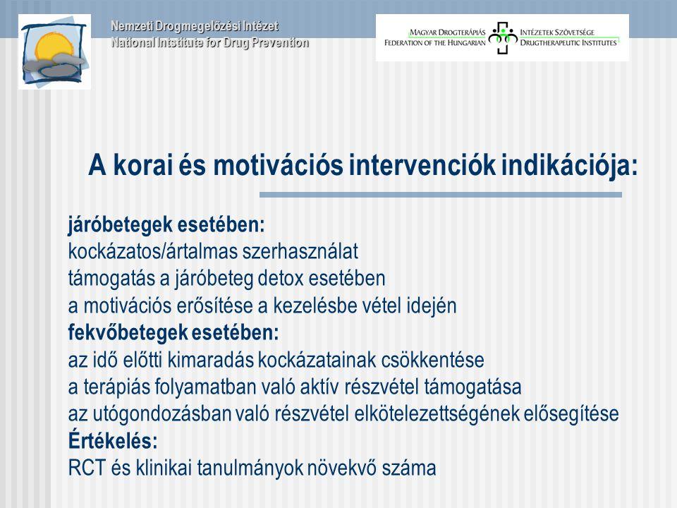 A korai és motivációs intervenciók indikációja: járóbetegek esetében: kockázatos/ártalmas szerhasználat támogatás a járóbeteg detox esetében a motivációs erősítése a kezelésbe vétel idején fekvőbetegek esetében: az idő előtti kimaradás kockázatainak csökkentése a terápiás folyamatban való aktív részvétel támogatása az utógondozásban való részvétel elkötelezettségének elősegítése Értékelés: RCT és klinikai tanulmányok növekvő száma Nemzeti Drogmegelőzési Intézet National Intstitute for Drug Prevention