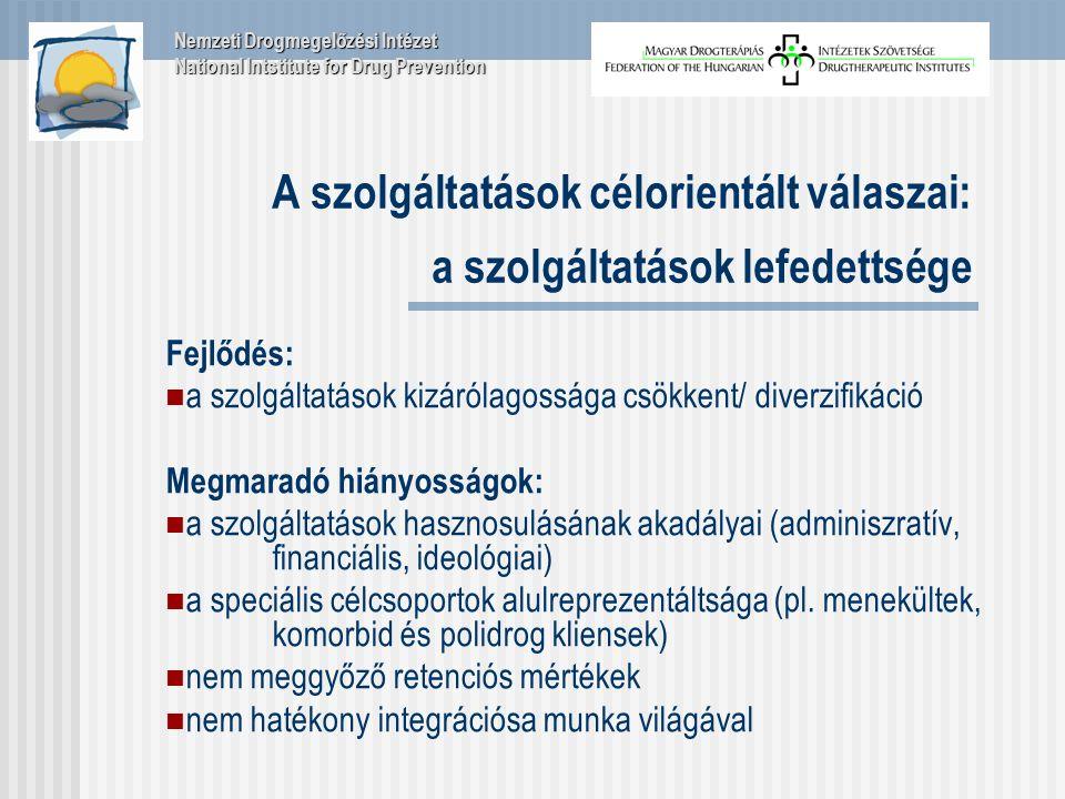 A szolgáltatások célorientált válaszai: a szolgáltatások lefedettsége Fejlődés: a szolgáltatások kizárólagossága csökkent/ diverzifikáció Megmaradó hiányosságok: a szolgáltatások hasznosulásának akadályai (adminiszratív, financiális, ideológiai) a speciális célcsoportok alulreprezentáltsága (pl.