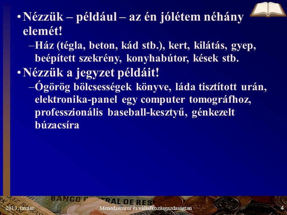 2013.tavasz 75 Menedzsment és vállalkozásgazdaságtan 1.3.3.