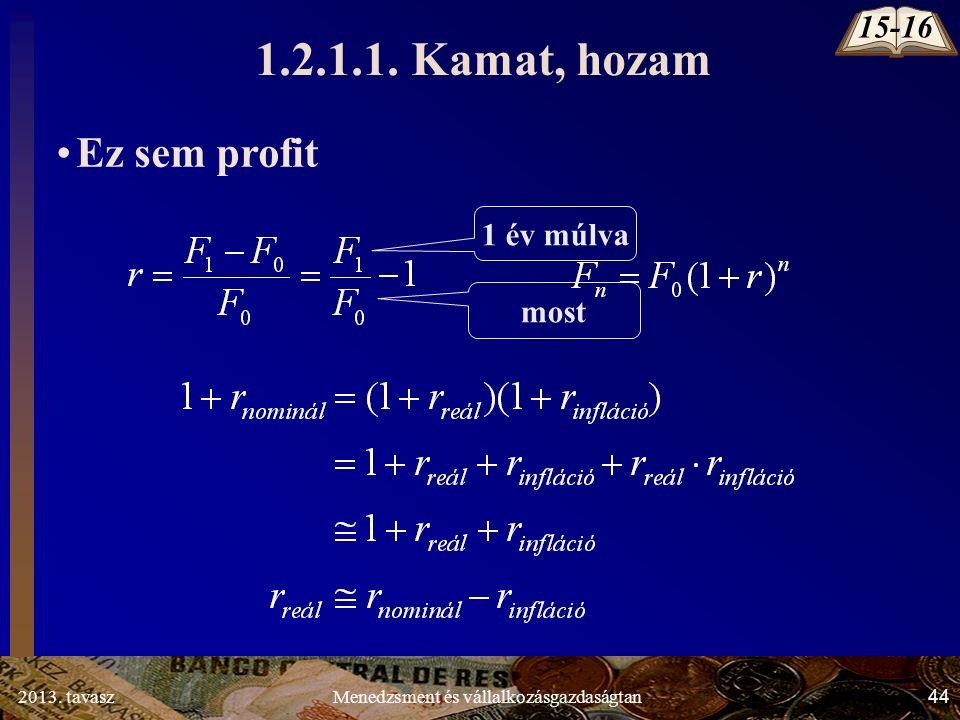 2013. tavasz 44 Menedzsment és vállalkozásgazdaságtan Ez sem profit 1 év múlva most 1.2.1.1.